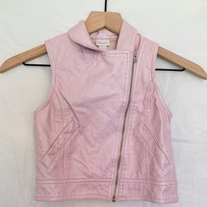 Xhilaration Pink Zip Up Faux Leather Vest